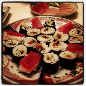 Having a quiet New Year's Eve with Rob and homemade sushi.