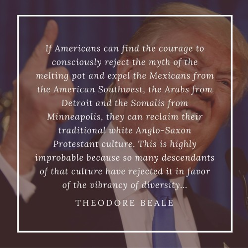 """""""If Americans can find the courage to consciously reject the myth of the melting pot and expel the Mexicans from the American Southwest, the Arabs from Detroit and the Somalis from Minneapolis, they can reclaim their traditional white Anglo-Saxon Protestant culture. This is highly improbable because so many descendants of that culture have rejected it in favor of the vibrancy of diversity..."""" Theodore Beale"""