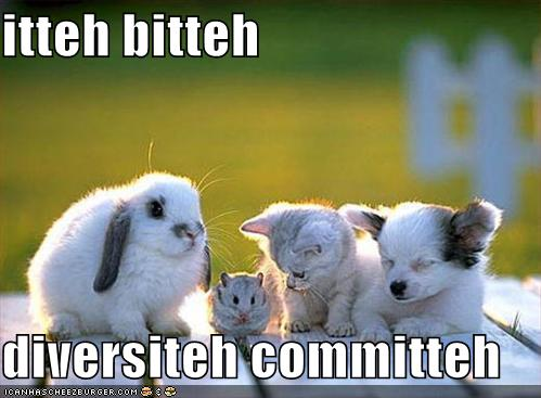 Baby bunny, chinchilla, kitten, and puppy with the words Iteh Bitteh diversiteh committeh