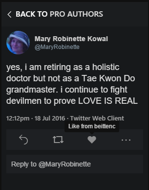 "Tweet reading, ""yes, i am retiring as a holistic doctor but not as a Tae Kwon Do grandmaster. i continue to fight devilmen to prove LOVE IS REAL."""