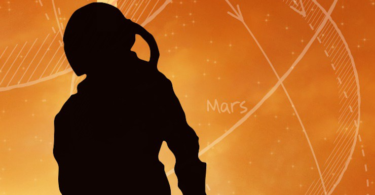 Cropped portion of THE FATED SKY cover, featuring the silhouette of an astronaut against an orange sky. Navigational diagrams are in the background, with the word Mars.