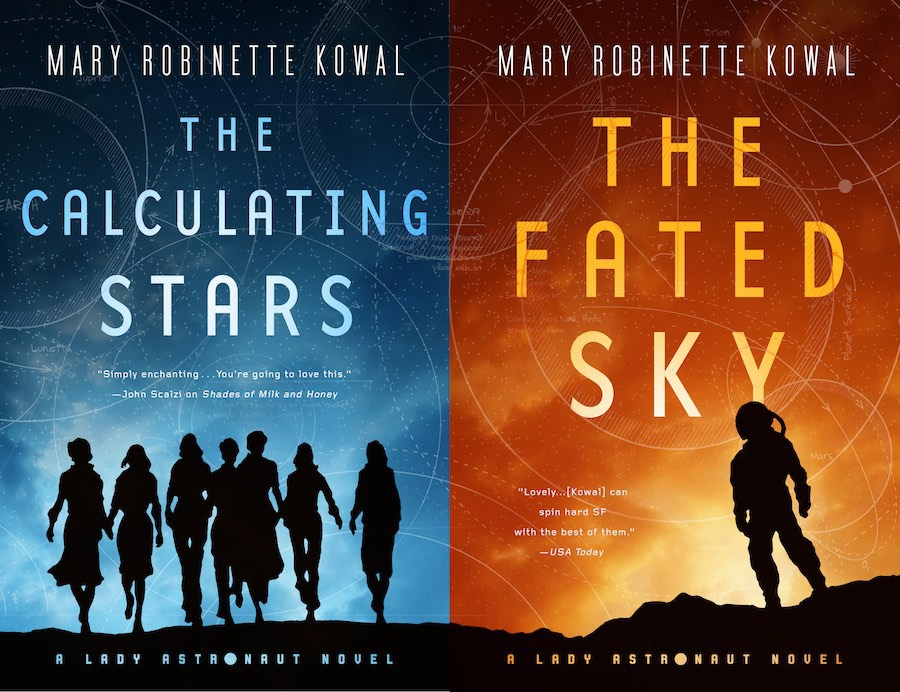 Paired covers for The Calculating Stars, showing a group of women on a blue field, and The Fated Sky, which has a lone astronaut against a red sky.